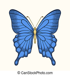 beautiful butterfly in pastel colors in graphic style