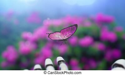Beautiful Butterfly Lands on the Robot's Hand. Beautiful 3d animation, 4K.