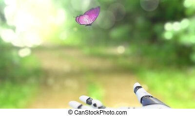Beautiful Butterfly on the forest trail Lands on the Robot's Hand. Beautiful 3d animation, 4K.