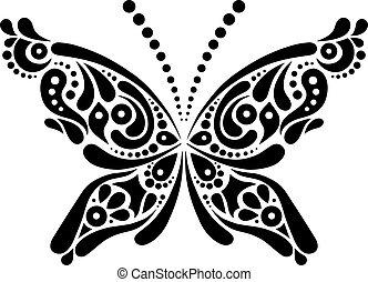Beautiful butterfly tattoo. Artistic pattern in butterfly shape