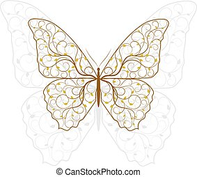 Beautiful butterfly with plant pattern.