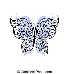 Beautiful butterfly with swirl pattern.