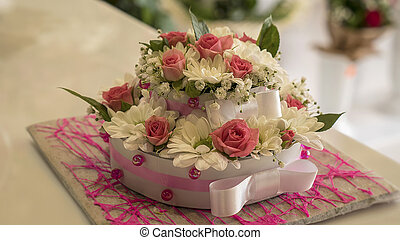 Beautiful cake made from a colorful flowers