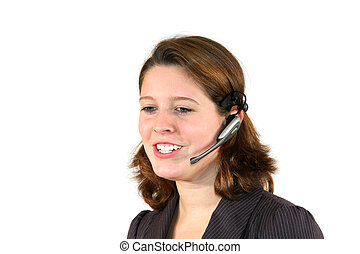 beautiful call center agent discussing with client
