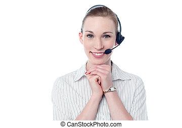 Beautiful call center woman with headset