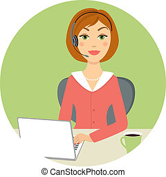 Beautiful call center woman with laptop and headset, vector...