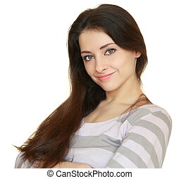 Beautiful calm casual woman looking with smile isolated on white background