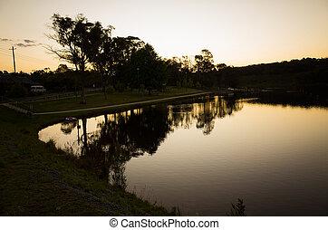 Beautiful Calm Lake at Dusk
