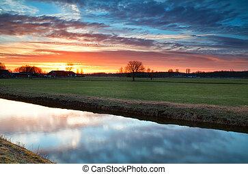 beautiful calm  sunset over river in farmland