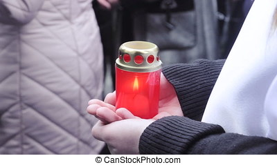 Beautiful candles at street