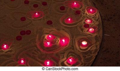 Beautiful candles burn in the Church