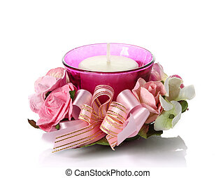 Beautiful candles with flowers on white