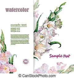 beautiful card background for text with hand painted flower