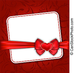 Beautiful card for Valentine Day with red heart and bow