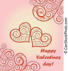 Beautiful card for Valentines day with lacy hearts