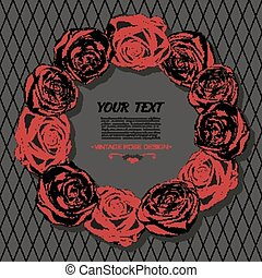 Beautiful card with a round wreath of red roses.