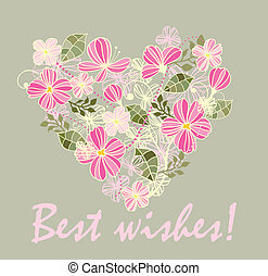 Beautiful card with floral heart