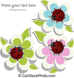 card with ladybugs on flowers