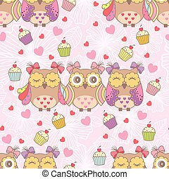 Beautiful card with owls and cake
