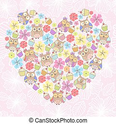 Beautiful card with owls and flower