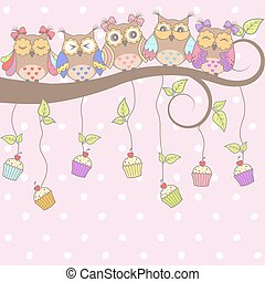 Beautiful card with owls
