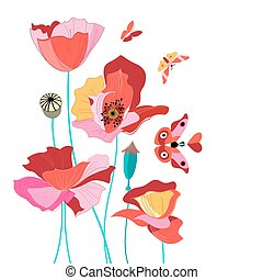 Beautiful card with poppies