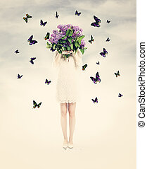 Beautiful Card with Woman, Flowers and  Butterfly. Summer Love Background