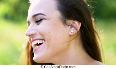 Beautiful carefree girl with a stunning smile. Portrait -...