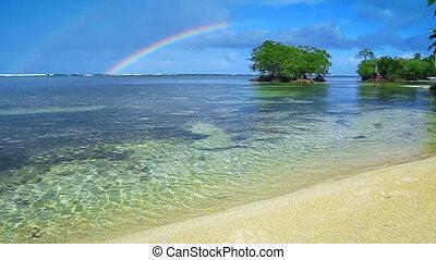 Colorful rainbow over caribbean sea . - Beautiful Caribbean...