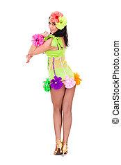 beautiful carnival dancer woman dancing