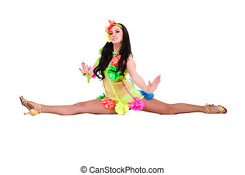 beautiful carnival dancer woman doing splits