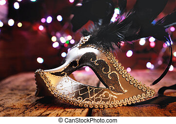 carnival mask with feather