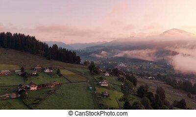 Beautiful Carpathian countryside landscape, aerial view.