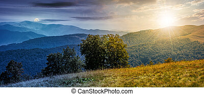 beautiful Carpathian panorama time concept - Time and day...