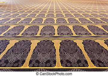 Beautiful carpet inside of the Grand Mosque in Kuwait City,...