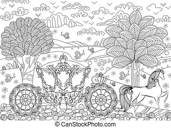beautiful carriage in fantasy landscape for your coloring book