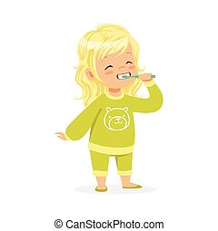 Beautiful cartoon blonde girl in a green pajamas brushing her teeth, kids dental care vector Illustration