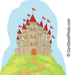 Beautiful cartoon castle on the hil