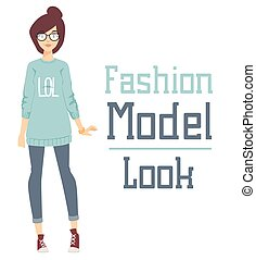 Beautiful cartoon fashion girl model constructor look standing over white background