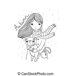 Beautiful cartoon girl and pug. Cute dog. Autumn theme. Hand...