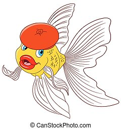 beautiful cartoon goldfish