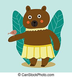 Beautiful cartoon illustration with colorful cartoon bear with bird on soft background. For children's books, prints, t-shirts, cards, greetings. Animal Friendship between bear and bird.