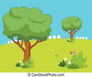 beautiful cartoon landscape with tr
