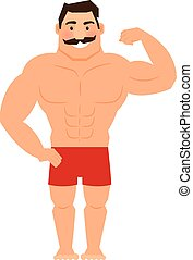 Beautiful cartoon muscular man with mustache