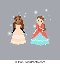 Beautiful cartoon princess characters