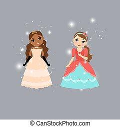 Beautiful cartoon princess characters