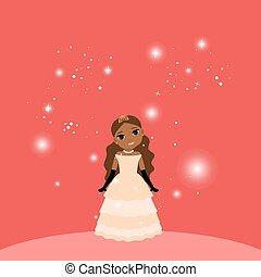 Beautiful cartoon princess on red background