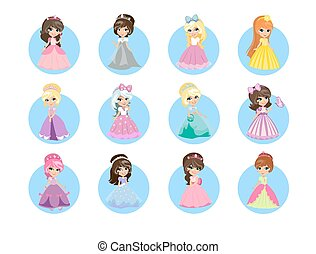 Beautiful Cartoon Princesses Flat Vector Icons Set