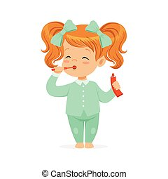Beautiful cartoon redhead girl in a light blue pajamas brushing her teeth, kids dental care vector Illustration