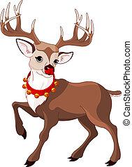 Beautiful cartoon reindeer Rudolf - Illustration of...